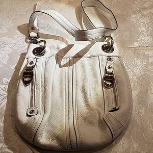 B. Makowsky white leather handbag
